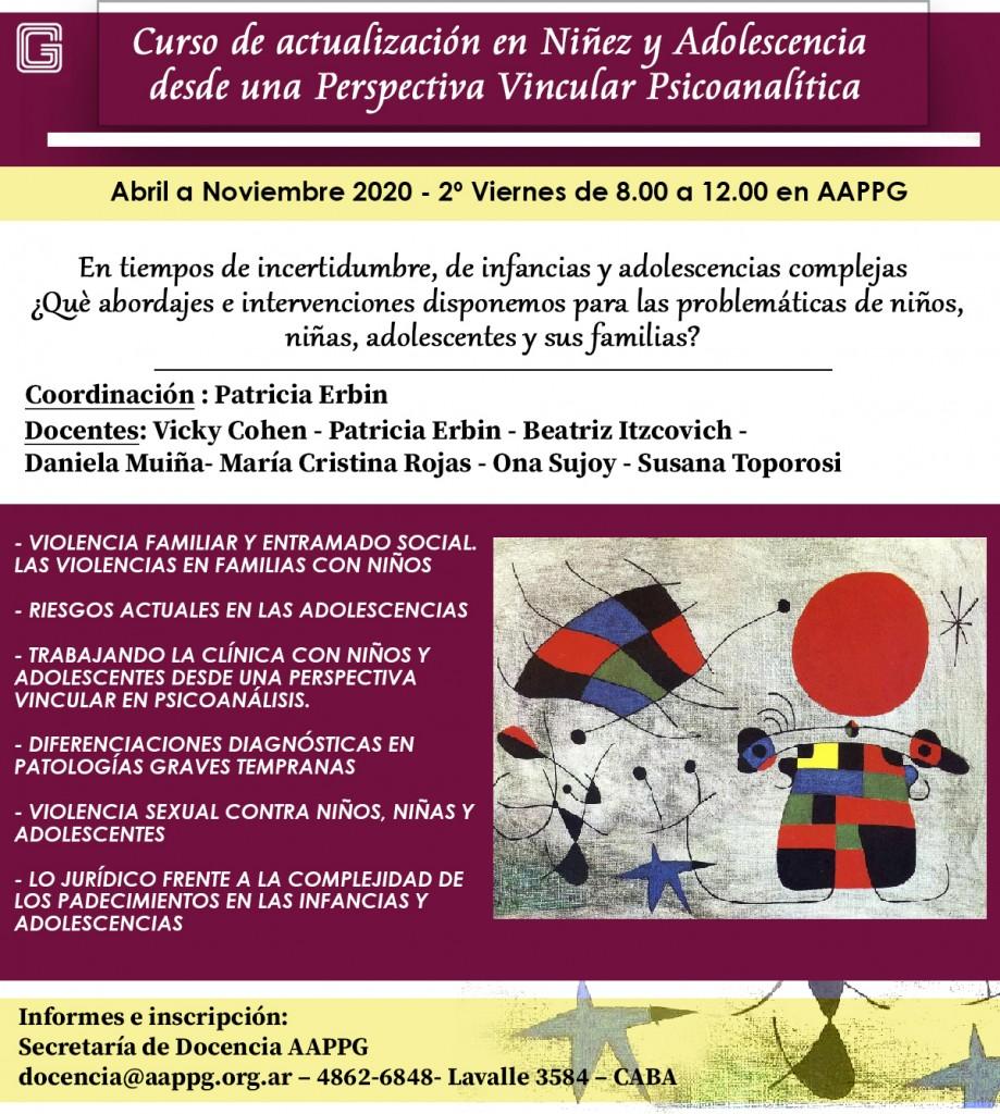 CURSO DE ACTUALIZACIÓN EN NIÑEZ Y ADOLESCENCIA DESDE UNA PERSPECTIVA VINCULAR PSICOANALÍTICA ed4